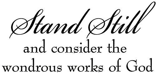 hiusan Inspirational Quotes Stand Still and Consider The Wondrous Works of God Bible Faith Religious Wall Decals for Bedrooms 23.4X10.9 inch