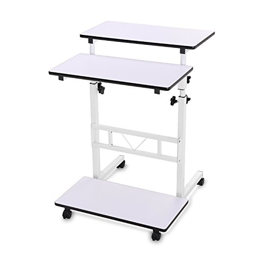 Mobile Workstation Cart Standing Computer Desk Table on Wheels for (Keyboard Computer Cart)