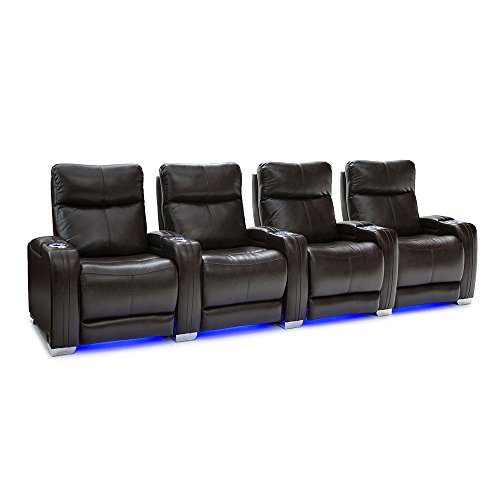 Seatcraft Solstice Leather Home Theater Seating with Power Lumbar, Recline, and Headrest (Row of 4, Brown)
