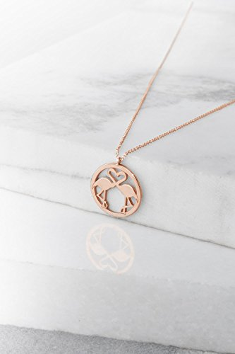 - Double Flamingo Necklace, Pink Flamingo Pendant, 9K, 14K, 18K Gold Necklace, Rose Gold Flamingo Charm, Gift For Her, Gold Flamingo Necklace /code: 0.003