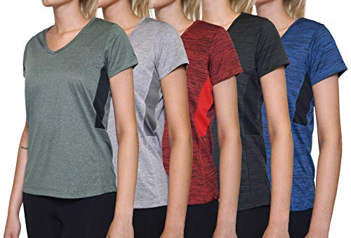 5 Pack: Womens V Neck T-Shirt Ladies Yoga Top Athletic Active Wear Gym Workout Zumba Exercise Running Quick Dry Fit Dri Fit Clothes - Set 3,L