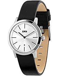 Edwin KENNY Womens 2 Hand-Date Watch, Stainless Steel Case with Black Leather Band