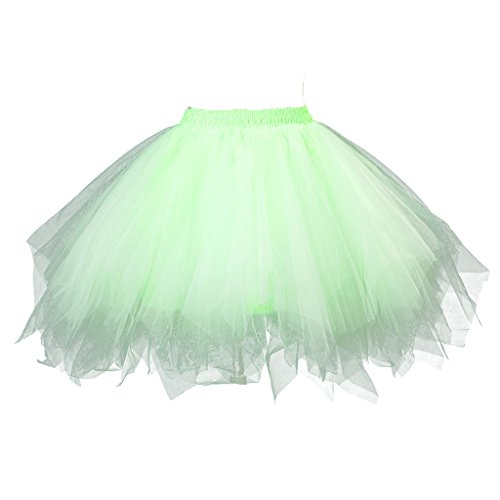 Topdress Women's 1950s Vintage Tutu Petticoat Ballet Bubble Skirt (26 Colors) Light Green XXL/XXXL -
