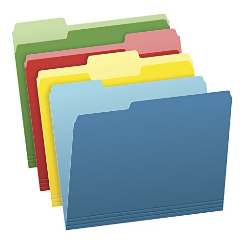 Pendaflex Two-Tone Color File Folders, Letter Size, Assorted Colors (Bright Green, Yellow, Red, Blue), 1/3-Cut Tabs, Assorted, 36 Pack (Cut Colored Hanging File Folders)
