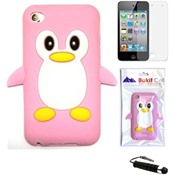 TOOGOO Apple IPOD TOUCH 4 4G 4TH GENERATION (ITOUCH 4 8GB 16GB 32GB) Baby Pink Penguin Silicone Silicon Case Cover + Free Screen Protector + Free Metallic Detachable Touch Screen STYLUS PEN with Anti Dust Plug