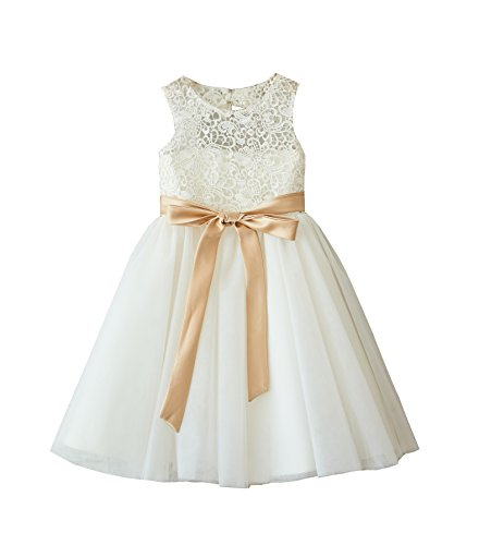 Miama Ivory Lace Tulle Wedding Flower Girl Dress Junior Bridesmaid Dress,Ivory,3T