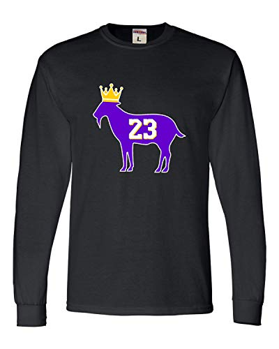 (Large Black Adult Goat James G.O.A.T. King Long Sleeve T-Shirt)