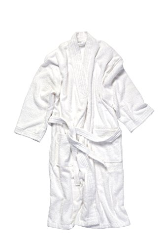 Kimono Style Turkish Cotton Terry Bathrobe Unisex White B...