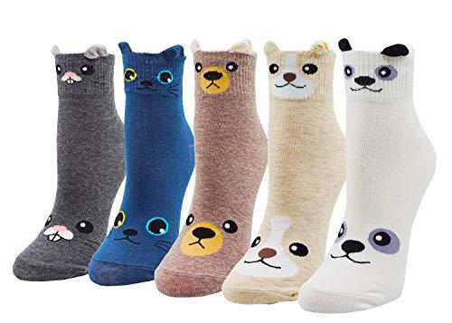 Lovful Womens Girls 5 Pack Vivid Ears Panda Cat Face Footed Socks Animal Socks Good for Gift Socks Set, Panda Cat Face Set