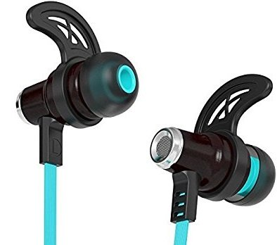 Symphonized NRG Bluetooth Wireless Wood in-Ear Noise-isolating Headphones, Earbuds, Earphones with Mic & Volume Control (Blue)