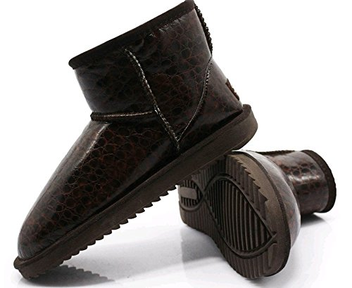 1 Boots Breathable Plus Winter Snow Fashion K3K Velvet Lined leather Brown PU Women's xXUSn7p
