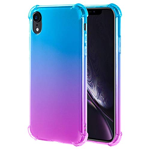 iPhone Xr Case Crystal Clear Slim Colorful Gradient Flexible Soft TPU Protective Cover Case Reinforced Corners Bumper Case Compatible Apple 6.1 inch Xr 2018 Release - Blue Purple