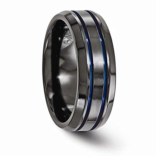 Edward Mirell Black Titanium with Blue Anodized Groove & Beveled Edge 8mm Wedding Band - Size 12.5