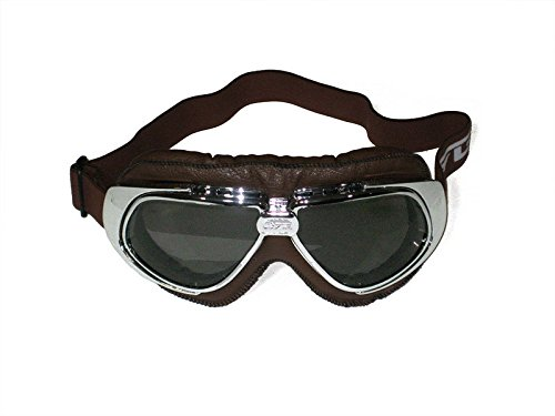 CRG Sports Vintage Aviator Pilot Style Motorcycle Cruiser Scooter Goggle T10 T10STN Smoke lens, silver frame, dark brown padding
