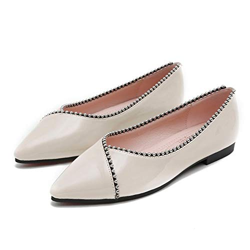 FLYRCX Los Zapatos Planos de Las Mujeres de la Primavera y el otoño Forman cómodos Zapatos de Trabajo Antideslizantes Casuales Zapatos de Boda Solo Zapatos, 35 UE 34 EU