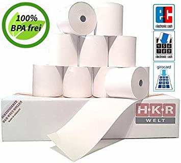 Thermorollen 57//15//12 /Ø 37mm zertifizierte HKR-Welt/® Bonrollen aus Thermopapier 50 EC-Cash Rollen f/ür Ingenico iWL250 WLAN SEPA Lastschrifttext frei Bisphenol-A BPA