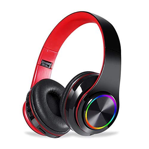La Senza Girl - Senza Fili Bluetooth 5.0 Della Cuffia Over-Ear Lsolamento Del Rumore HiFi Stereo Black Red