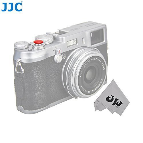 JW SRB-B10R Red Convex Surface Metal Soft Shutter Release Button For FUJIFILM X100T X100 X100S X10 X20 X30 X-E1 X-E2 XPRO-1 STX-2 X-T10 Nikon Df M2 F3 Sony RX1R II RX10 II+JW Cloth (Shutter Button)