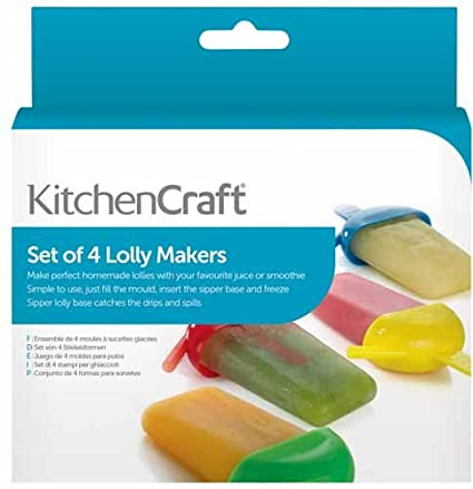Multi-Colour Set of 4 KitchenCraft Sipper-Style Plastic Ice Lolly Moulds