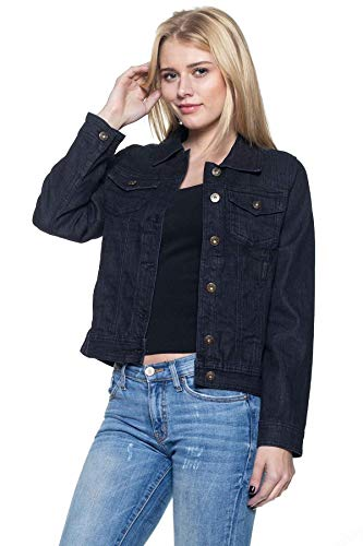 Long Sleeve Premium Denim - Women`s Juniors Premium Denim Jackets Long Sleeve Jean Coats in Denim Black Size M