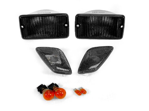 REVi MotorWerks Combo Smoke Bumper Signal Lights + Fender Side Markers Set fit for 1997-2006 Jeep Wrangler TJ Chassis ()