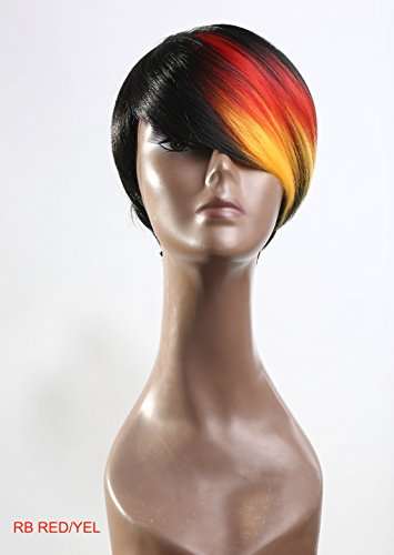 New Fashion Wig Bob Pixie Tousle Black Brown Red Yellow Color Block Ombre Side Swept for Regular Wear or Halloween Party Cosplay Heat Friendly Fire Resistant Kanekalon (2 Wig Caps Provided)