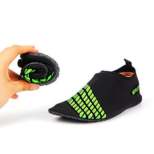 Uomini Donne Pull-on Quick-dry Pelle Sport Acquatici Aqua Scarpe Calze Outdoor Sneaker Holey Ventilazione Kpu Suola 1 Verde