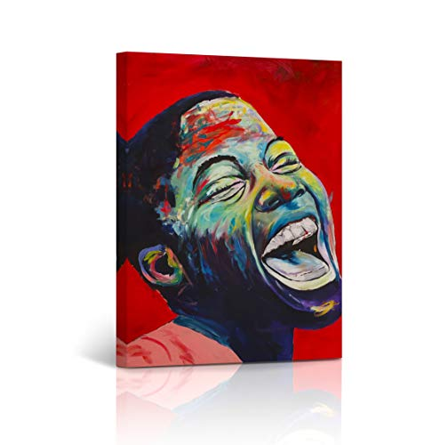 Buy4Wall Smiling African Boy Wall Art Canvas Print African Kid Portrait in Red Oil Painting Decorative Art Home Decor Artwork Stretched and Framed - Ready to Hang -%100 Handmade in The USA 28x19