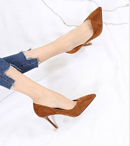 Fine 9Cm 34 Heel MDRW Mouth Sexy Work Heels Suede Shallow Shoes Sharp Leisure Elegant Single Lady Caramel Career Spring Shoes Work zRCxwq8FRv
