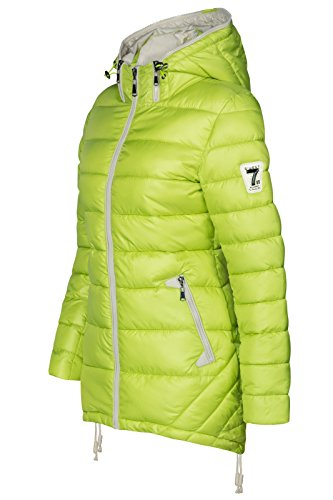 Cappotto zip giallo e cappuccio donna neon da con lungo trapuntato 4wqSrP4