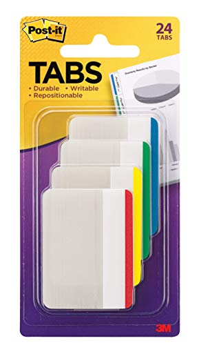 Post-it Tabs, 2 in., Lined, Assorted Primary Colors, Durable, Writable, Repositionable, Sticks Securely, Removes Cleanly, 6 Tabs/Color, 4 Colors, 24 Tabs/Pack, (686F-1)