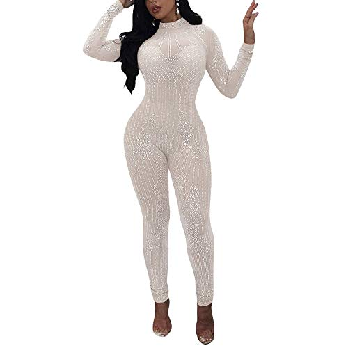 Kafiloe Womens Sexy Rhinestone Mesh See Through Bodycon Clubwear Party Jumpsuit Rompers White S