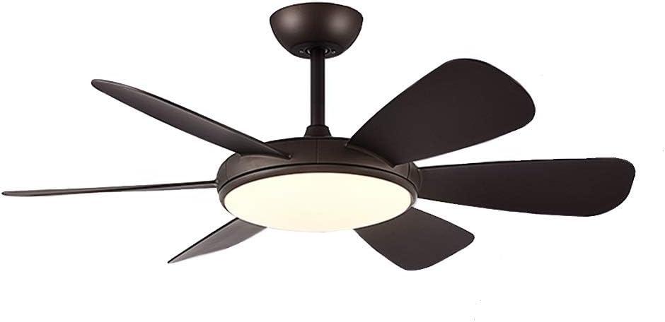 HSF Macarons llevó la conversión de frecuencia del ventilador de la luz de la sala de estar moderna y minimalista del ventilador del techo restaurante luz dormitorio casa Ventiladores de techo con lám