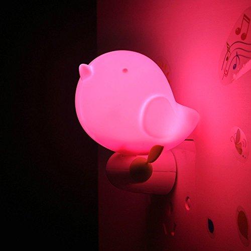 NetBoat Cute LED Intelligent Bird Night Light with Light Sensor Control, Jungle Bird Toddler Wall Light for Children/Kids/Baby (Pink)