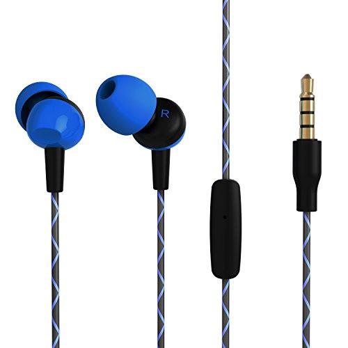 Earphones Earbuds, OARIE Headphones with Mic Stereo Hifi Earphones for iOS Android 3.5mm Jack(Dark Blue)