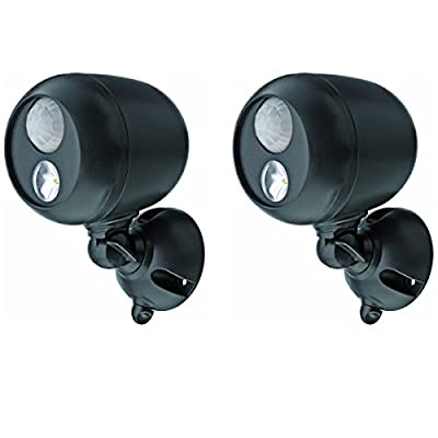 2 Pack Mr Beams MB360 Wireless LED Spotlight with Motion Sensor and Photocell - Weatherproof - Battery Operated - 140 Lumens