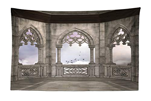 Lunarable Gothic Tapestry, Medieval Stone Balcony Graphic Design Mystic Middle Age Story, Fabric Wall Hanging Decor for Bedroom Living Room Dorm, 45