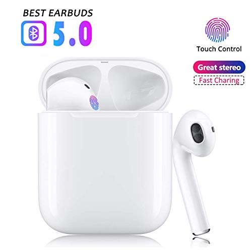 True Bluetooth 5.0 Earbuds Wireless Headphones Hi-Fi Sound Bluetooth Headset with Mini Charging Case 24Hrs Extended Playtime Pop-Up Pairing for iPhone/Samsung/Apple/Airpods Sports Headphones …