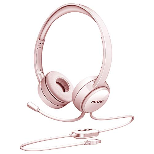 (Mpow USB Headset with Noise Cancelling Mic, Lightweight 3.5mm Jack Computer Headsets for Clear Chat, Comfy Earmuffs Wired Headphones for PC, Cell Phone, Skype, E-learning)
