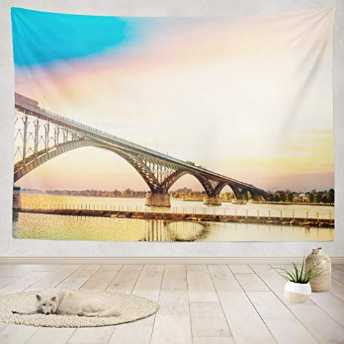 ASOCO Tapestry Wall Handing Peace Bridge Buffalo Bridge Peace Border Buffalo Architecture Blue Canada Wall Tapestry for Bedroom Living Room Tablecloth Dorm 60X80 Inches