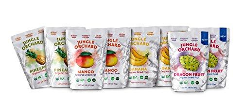 Jungle Orchard Fair Trade Organic Dried Fruit, Variety Small 1.05 oz 8 Pack (Yellow Dragon Fruit, Mango, Pineapple, (Fair Trade Banana)