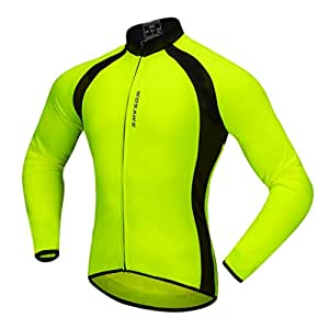 Baosity Quick Dry Cycling Jersey Long Sleeve Sports Bike Jacket Winter Bicycle Shirt - Green, S
