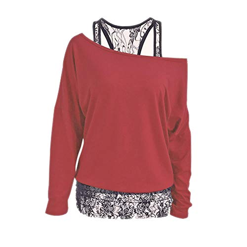 Womens Cute Tops Lace Tunic Tops Off The Shoulder Tops Long Sleeve Round Neck (XXX-Large,Red)