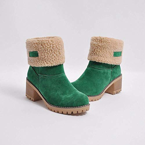Boots Warm Short Green Snow Ladies Martin Boots Womens Shoes Winter Bootie Flock Waq8wxWRA1
