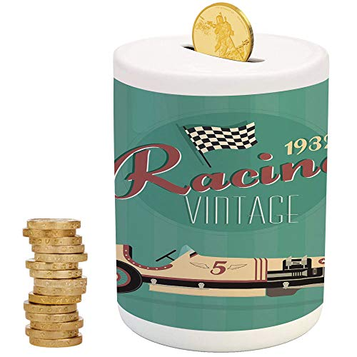 Cars,Ceramic Coin Bank,Top Slot Porcelain Nursery Décor Baby Bank,Poster Print of a Classic Vintage Automobile Nostalgia Rally Antique Machine
