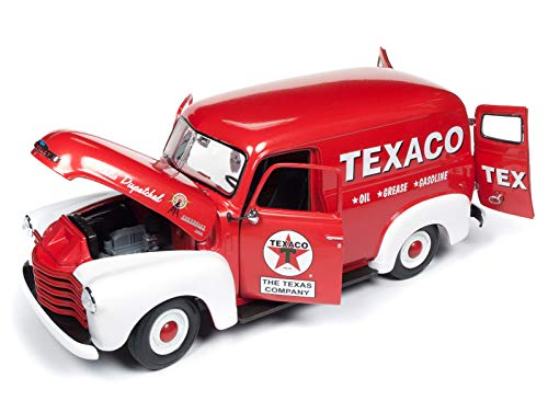 (1948 Chevrolet Panel Delivery Truck Texaco Red Limited Edition to 1,002 Pieces Worldwide 1/18 Diecast Model Car by Autoworld AW248)
