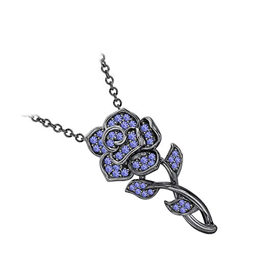RUDRAFASHION Beautiful Rose Floral Pendant Necklace Tanzanite 14k Black Gold Over .925 Sterling Silver for Womens