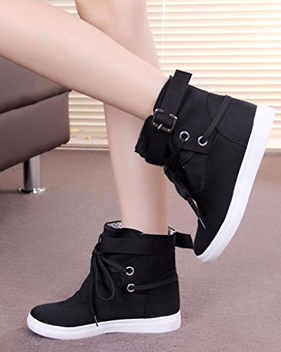 Boots Canvas Black Ankle Woman Spring Lace Buckle Top Up Autumn Maybest Boots Shoes High 8gIxx