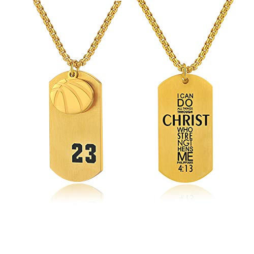 Godcow Men's Basketball Player 23 Stainless Steel Cross Pendant I Can Do All Things Bible Verse Necklace (Gold)