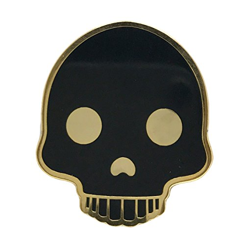 Gold Black Skull Skeleton Enamel Lapel Pin - Fun Death Halloween Party Trendy Accessory for Jacket T-Shirt Bag Hat Shoe -